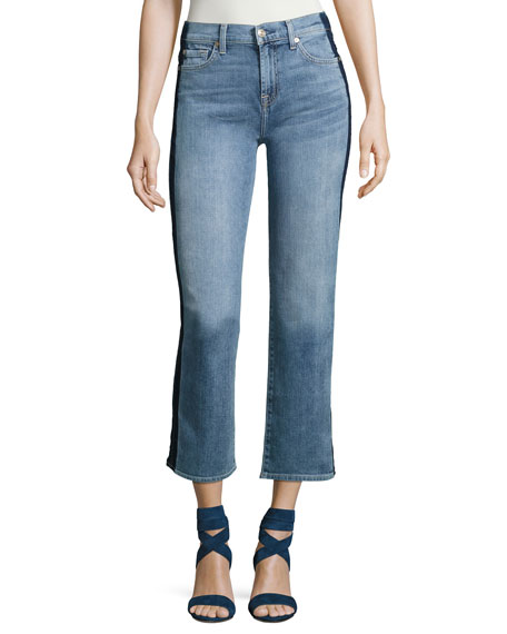 Kiki W/ Shadow Side Seam Wide-Leg Jeans, Indigo
