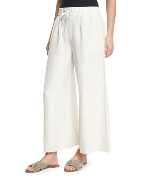 Elizabeth and James Halsey Wide-Leg Drawstring Pants, Ivory
