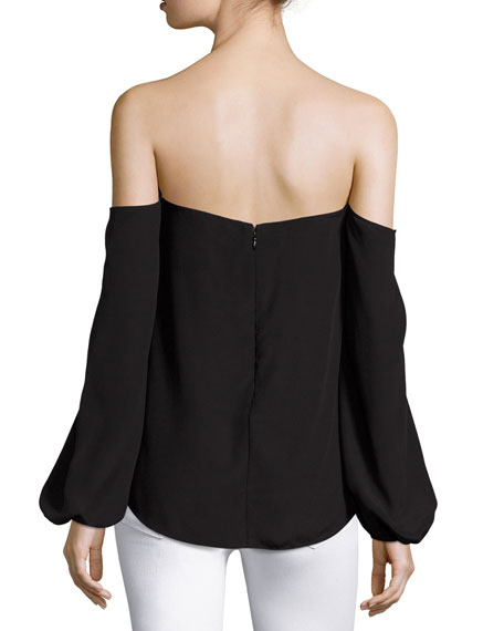 Laureema Mosaic Silk Top, Black