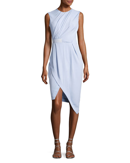Carven Draped Half-Belt Dress, Light Blue