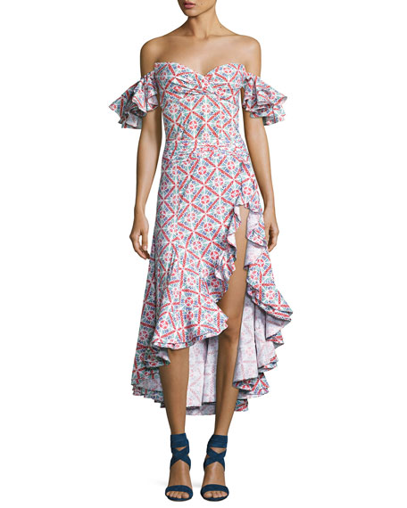 Giovanna Ruffled High-Slit Skirt, Pink
