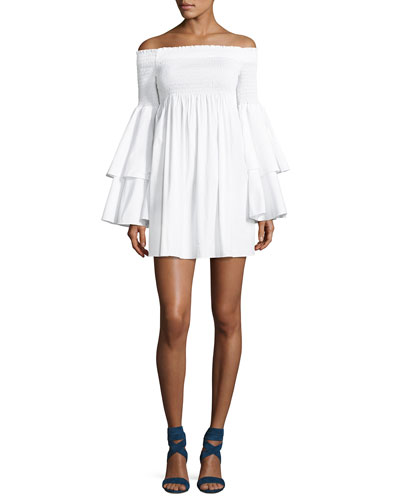 Appolonia Off-the-Shoulder Poplin Dress, White