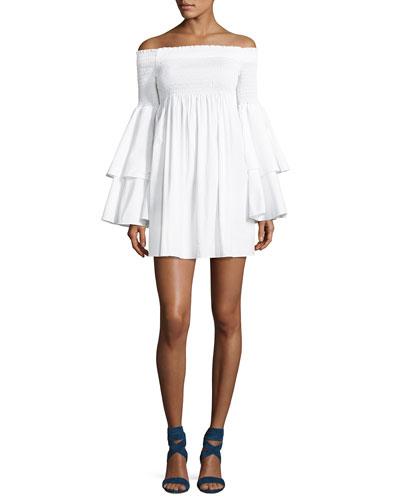 Appolonia Off-the-Shoulder Poplin Dress, White