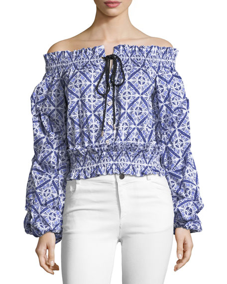 Caroline Constas Lorena Printed Off-the-Shoulder Poplin Blouse