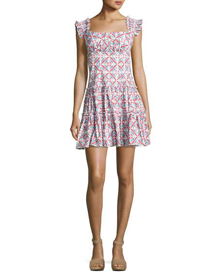Caroline Constas Maria Square-Neck Tiered Mini Dress, Pink