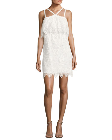 Likely Abergreen Embroidered Organza Mini Dress, White