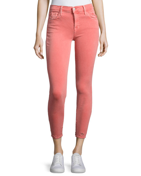 J Brand 835 Mid-Rise Capri Glowing Jeans, Coral