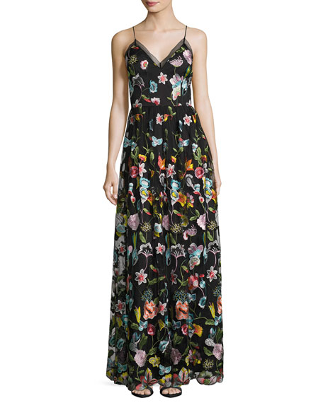 Aidan by Aidan Mattox Sleeveless Embroidered Floral Chiffon