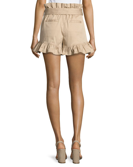 cinq a sept Braxton High-Waist Ruffled Shorts, Khaki