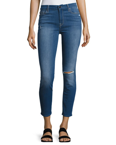 Riche Touch Mediterranean Blue Skinny Ankle Jeans