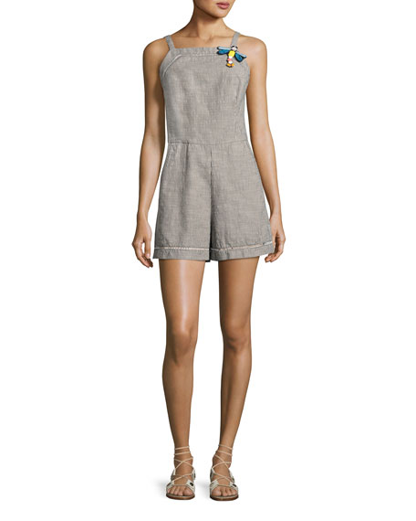 Trina Turk Acai Sleeveless Striped Romper, Black/White