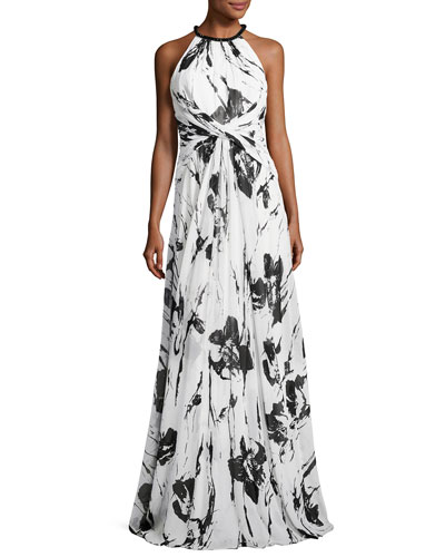 Sleeveless Floral Silk Twist Gown, Ivory/Black