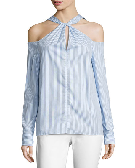 Rag & Bone Collingwood Cold-Shoulder Long-Sleeve Top, Blue