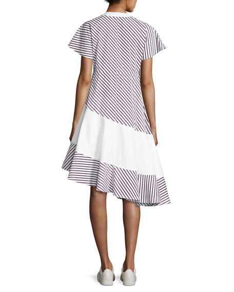 Striped Asymmetric Midi Dress, Blue Pattern