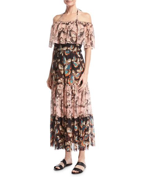Fuzzi Butterfly-Print Off-the-Shoulder Maxi Dress, Pink and