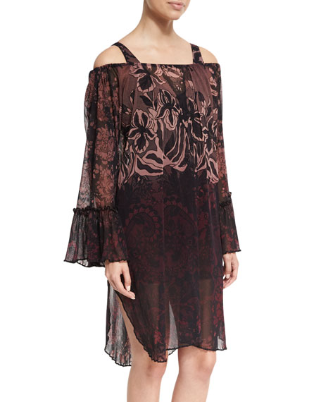 Fuzzi Floral Print Off-the-Shoulder Coverup Dress, Black