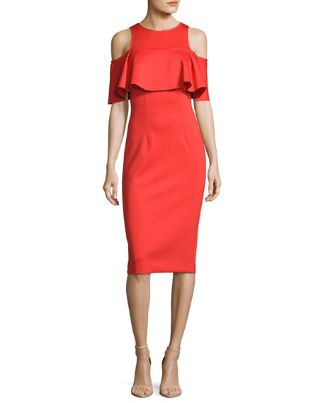 Jovani Cold-Shoulder Crepe Popover Cocktail Dress, Tangerine