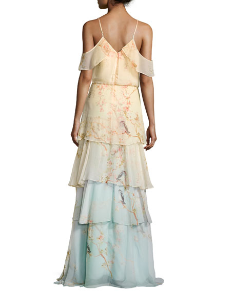 Abby Cold-Shoulder Tiered Silk Georgette Gown, Cherry Blossom