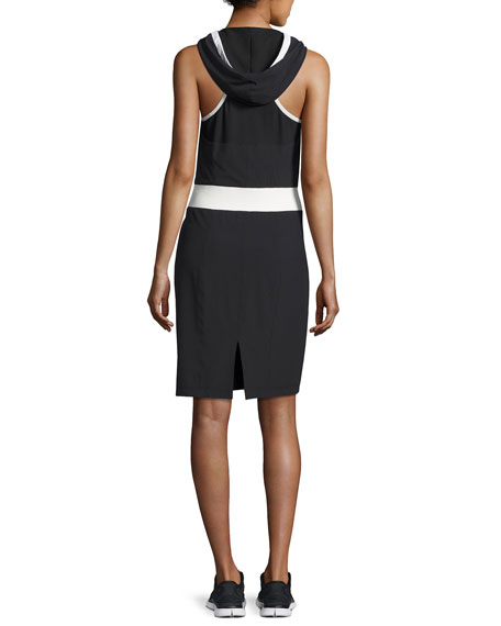Relax Sleeveless Hooded Athletic Dress, Black-White