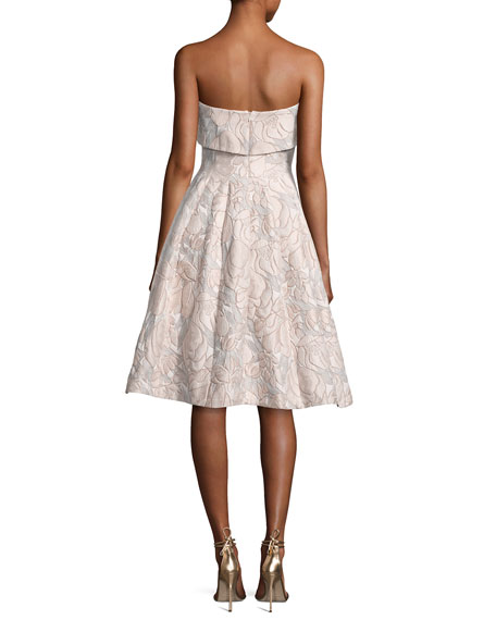 Strapless Floral Jacquard Cocktail Dress, Beige/Multicolor