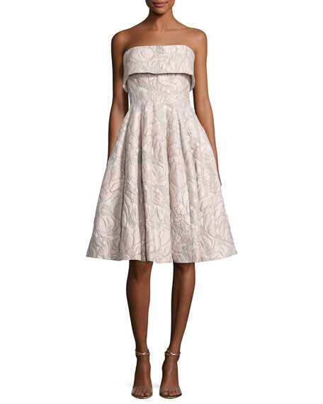 Badgley Mischka Strapless Floral Jacquard Cocktail Dress,