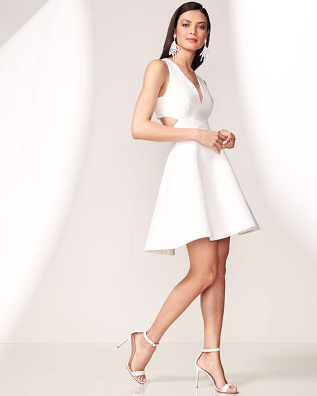 Sleeveless Cutout Faille Cocktail Dress