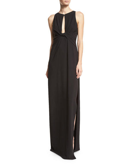 Sleeveless Knotted Stretch Crepe Column Gown