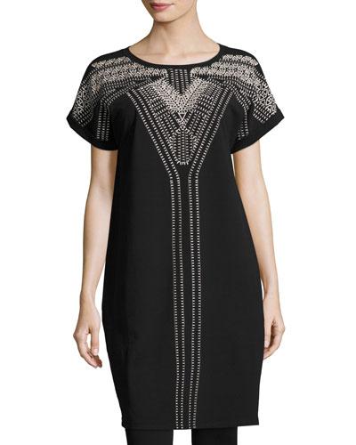 Havana Nights Short-Sleeve Embroidered Tunic Dress, Plus Size