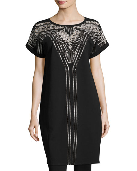 NIC+ZOE Havana Nights Tunic Dress, Black Onyx and