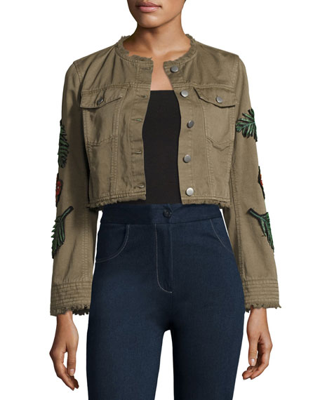 cinq a sept Halina Crop Denim Jacket W/