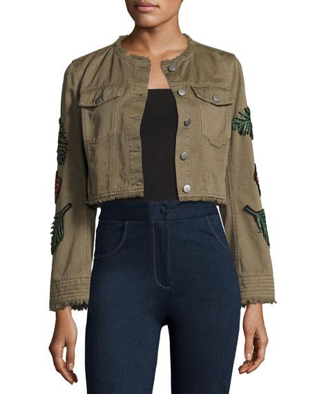 Halina Crop Denim Jacket W/ Logo Patches, Olive