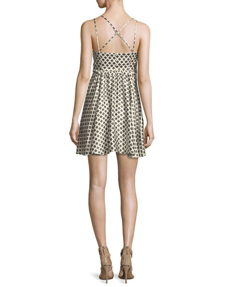 Geneva Printed Silk Mini Dress, Ivory