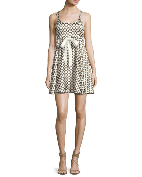 cinq a sept Geneva Printed Silk Mini Dress,