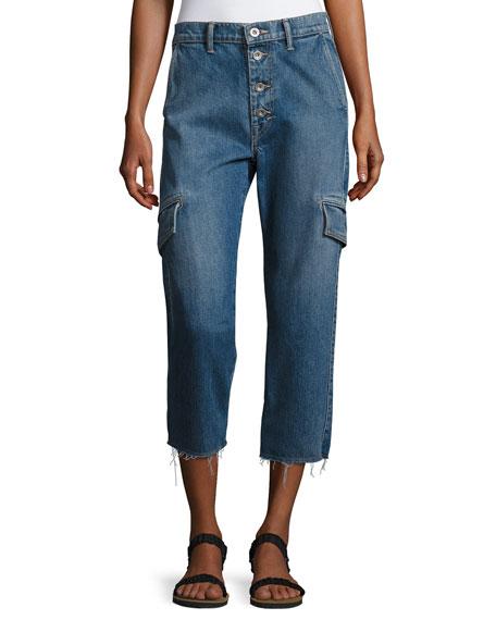 Vince Drop Slouch Cargo Jeans, Medium Indigo Wash