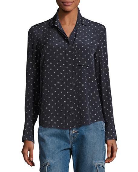 Refined Dot Slim Silk Shirt, Blue