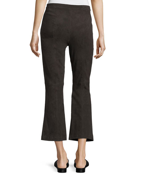Stretch-Suede Capri Pants