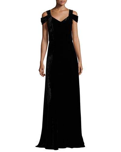 Rayon/Silk Velvet V-Neck Gown