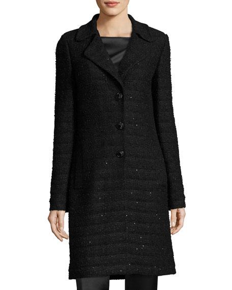 Textural Sequin Knit Topper W/ Detachable Fur Collar