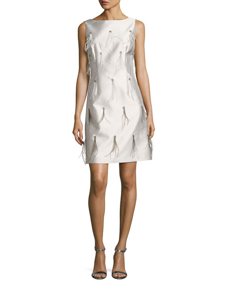 St. John Collection Bateau-Neck Hand-Beaded Cocktail Dress w/