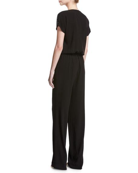 Lightweight Satin Back Crepe Jumpsuit w/ Sequins