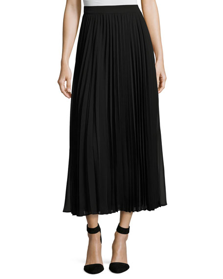 Pleated Georgette Maxi Skirt, Black