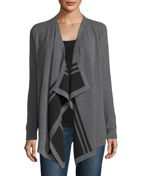 Neiman Marcus Cashmere Collection Striped Draped Cashmere