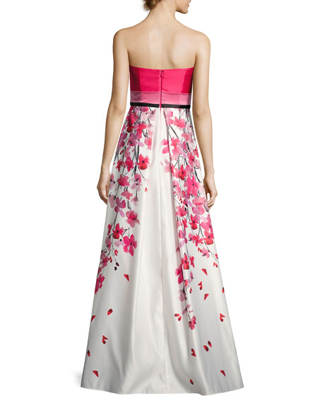 Strapless Solid & Floral Satin Gown, Pink/White
