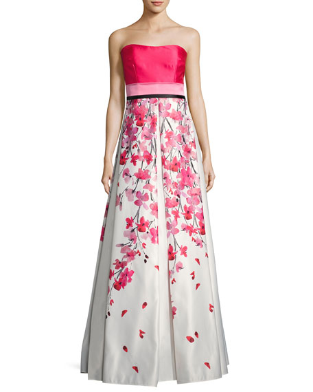 David Meister Strapless Solid & Floral Satin Gown,