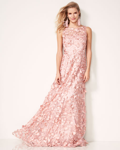 Sleeveless 3D Floral Tulle Gown, Pink