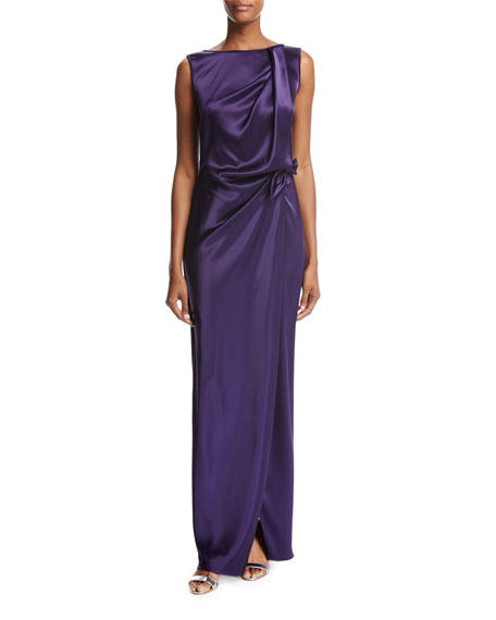 St. John Collection Liquid Satin Wrap, Violet and