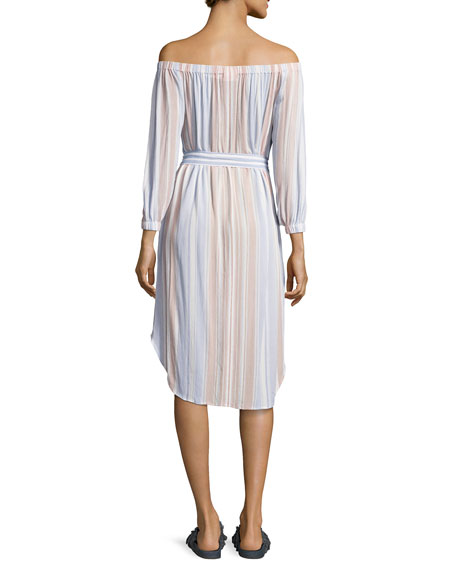 Michelle Off-Shoulder Striped Gauze Dress, Multi