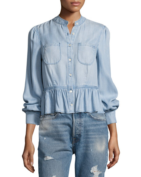 FRAME Double-Pocket Peplum Denim Blouse, Blue