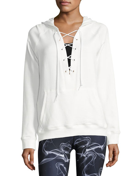 Alala Lace-Up Athletic Pullover Hoodie, White