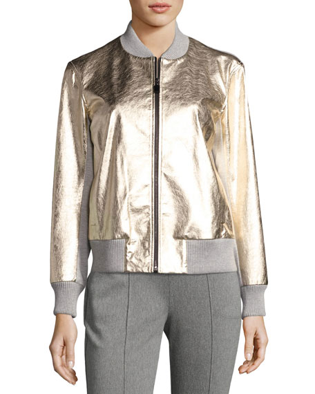 Metallic Napa Leather Bomber Jacket, Gold